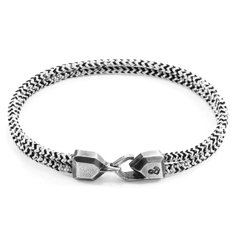 Anchor & Crew White Noir Cromer Silver and Rope Bracelet