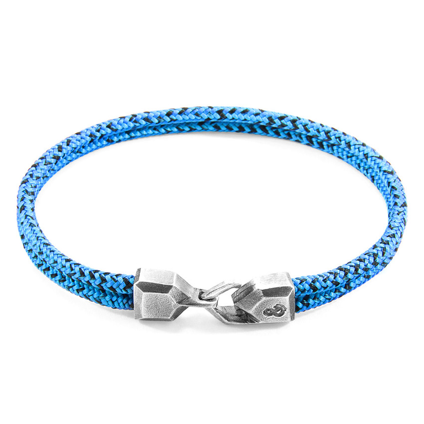 Anchor & Crew Blue Noir Cromer Silver and Rope Bracelet