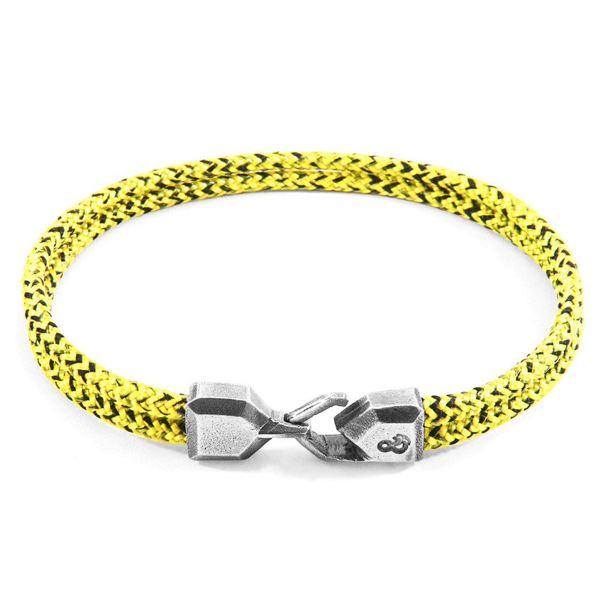Anchor & Crew Yellow Noir Cromer Silver and Rope Bracelet
