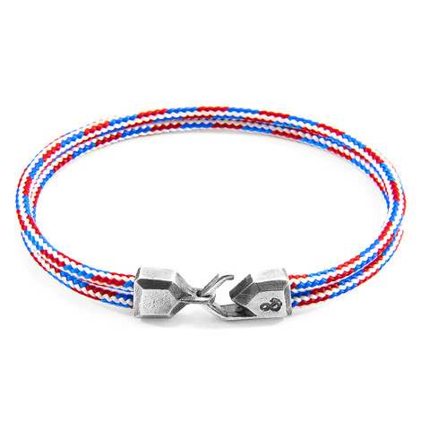 Anchor & Crew Project-RWB Red White and Blue Cromer Silver and Rope Bracelet