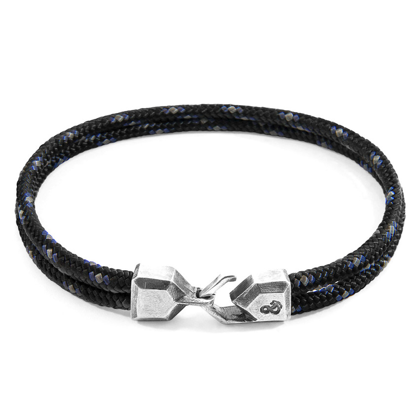 Anchor & Crew Black Cromer Silver and Rope Bracelet
