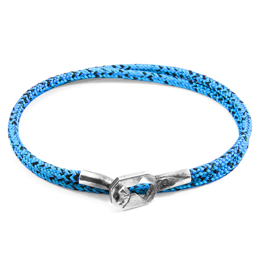 Anchor & Crew Blue Noir Tenby Silver and Rope Bracelet