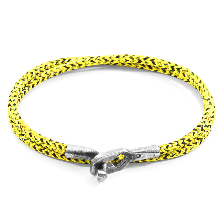 Anchor & Crew Yellow Noir Tenby Silver and Rope Bracelet