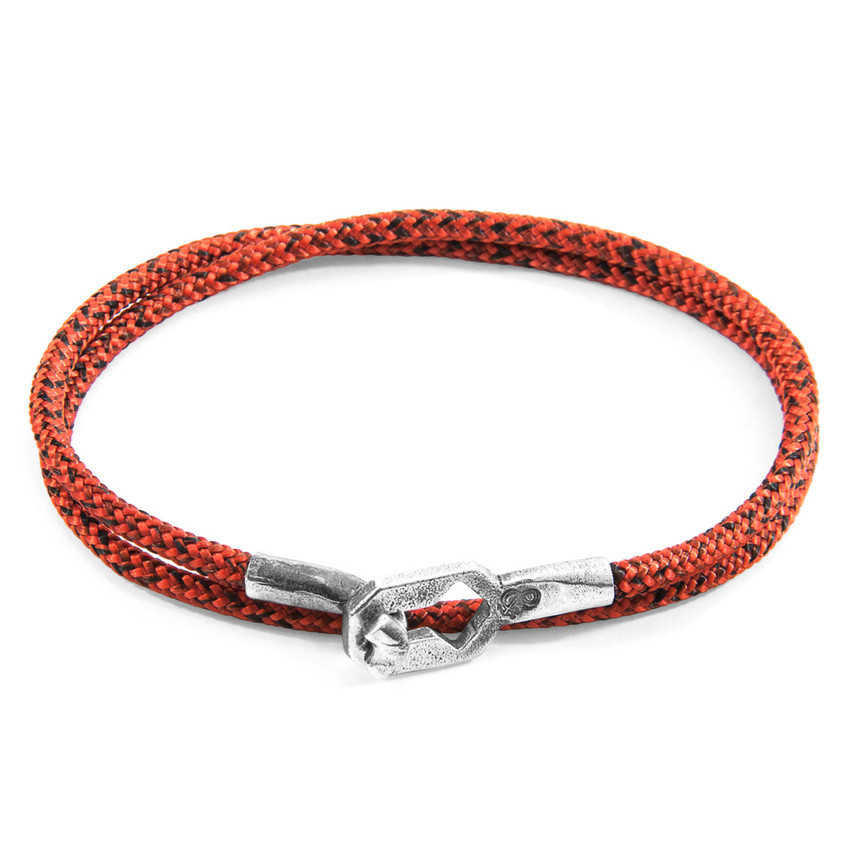 Anchor & Crew Red Noir Tenby Silver and Rope Bracelet