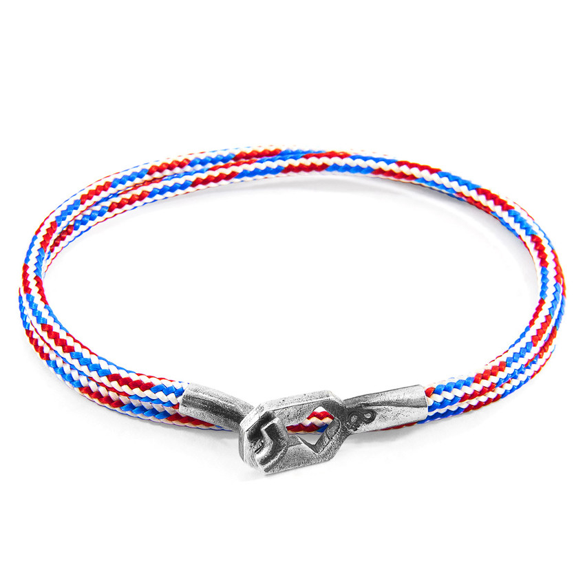 Anchor & Crew Project-RWB Red White and Blue Tenby Silver and Rope Bracelet