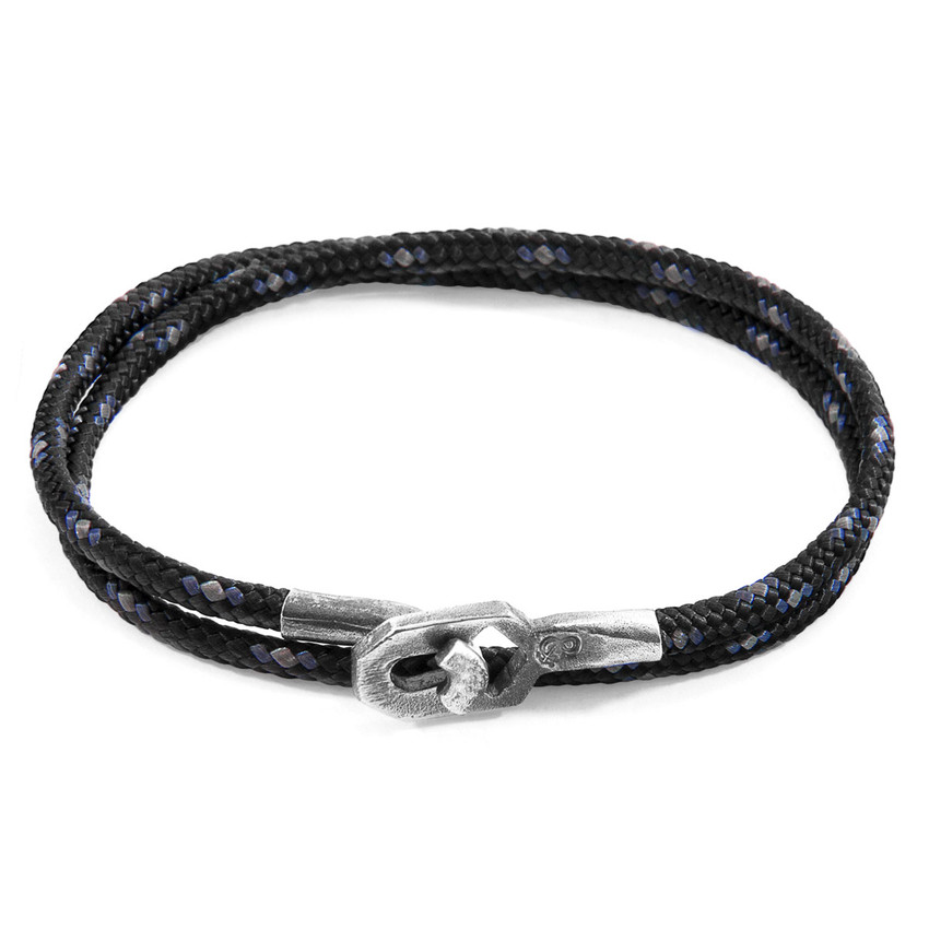 Anchor & Crew Black Tenby Silver and Rope Bracelet