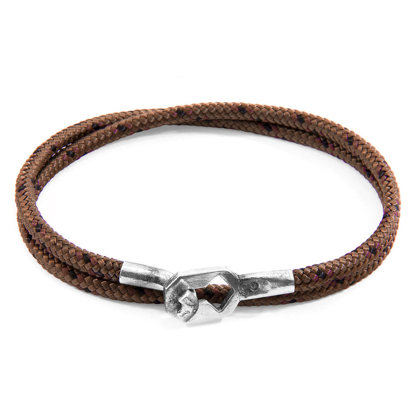 Anchor & Crew Brown Tenby Silver and Rope Bracelet