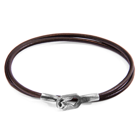 Anchor & Crew Mocha Brown Tenby Silver and Round Leather Bracelet