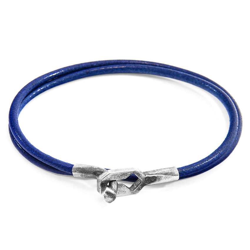 Anchor & Crew Azure Blue Tenby Silver and Round Leather Bracelet