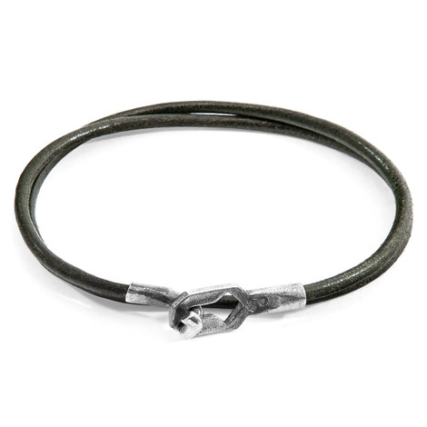 Anchor & Crew Racing Green Tenby Silver and Round Leather Bracelet