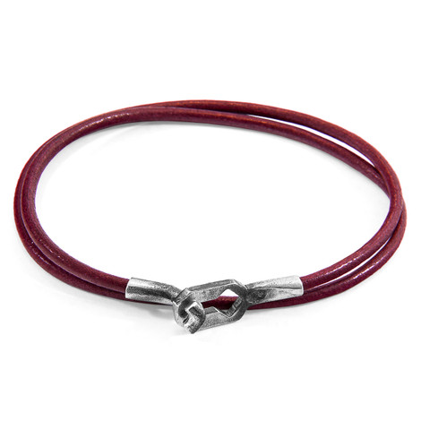 Anchor & Crew Bordeaux Red Tenby Silver and Round Leather Bracelet