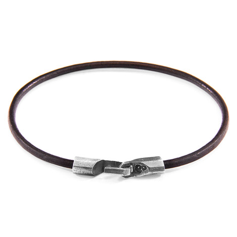 Anchor & Crew Mocha Brown Talbot Silver and Round Leather Bracelet