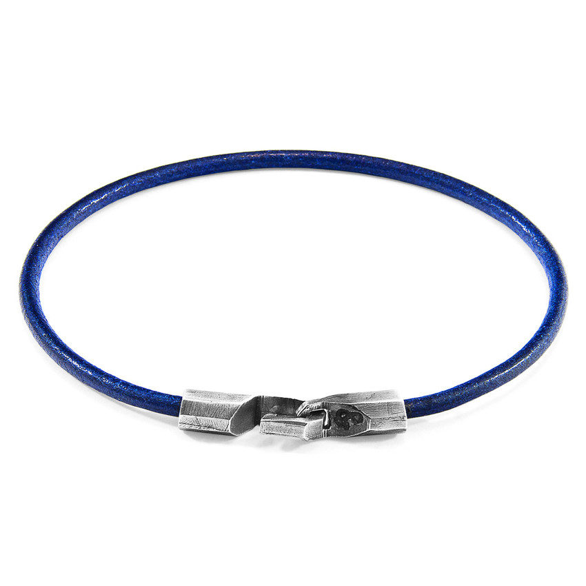 Anchor & Crew Azure Blue Talbot Silver and Round Leather Bracelet