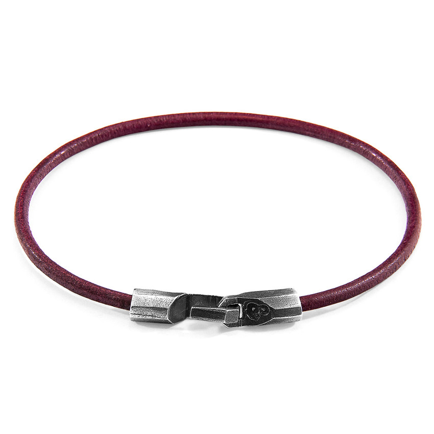 Anchor & Crew Bordeaux Red Talbot Silver and Round Leather Bracelet