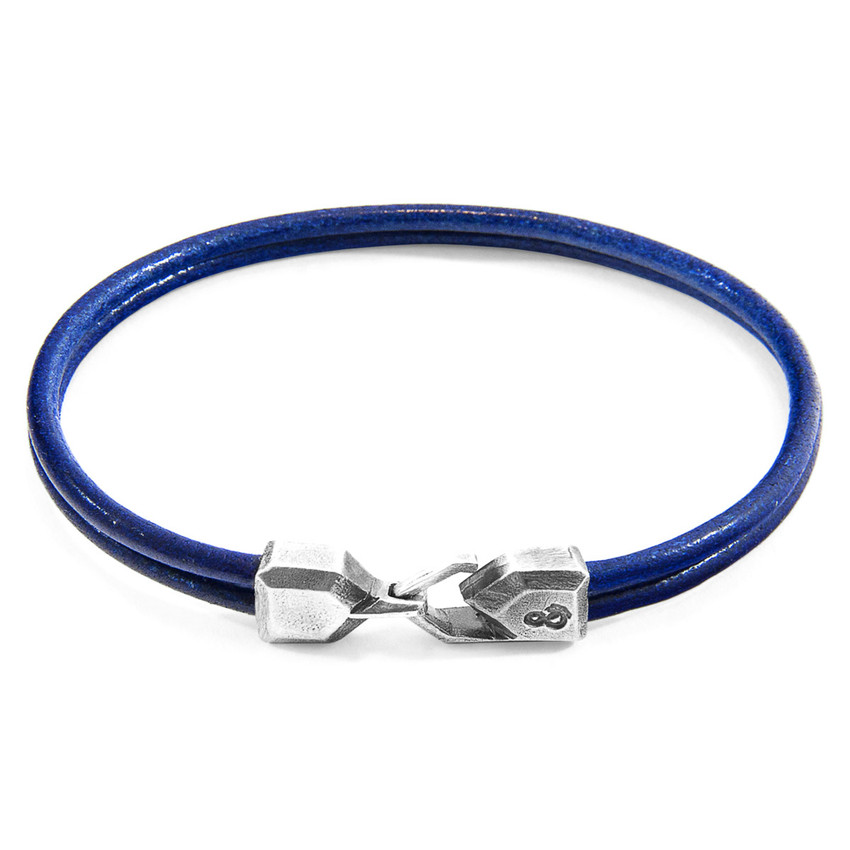 Anchor & Crew Azure Blue Cromer Silver and Round Leather Bracelet