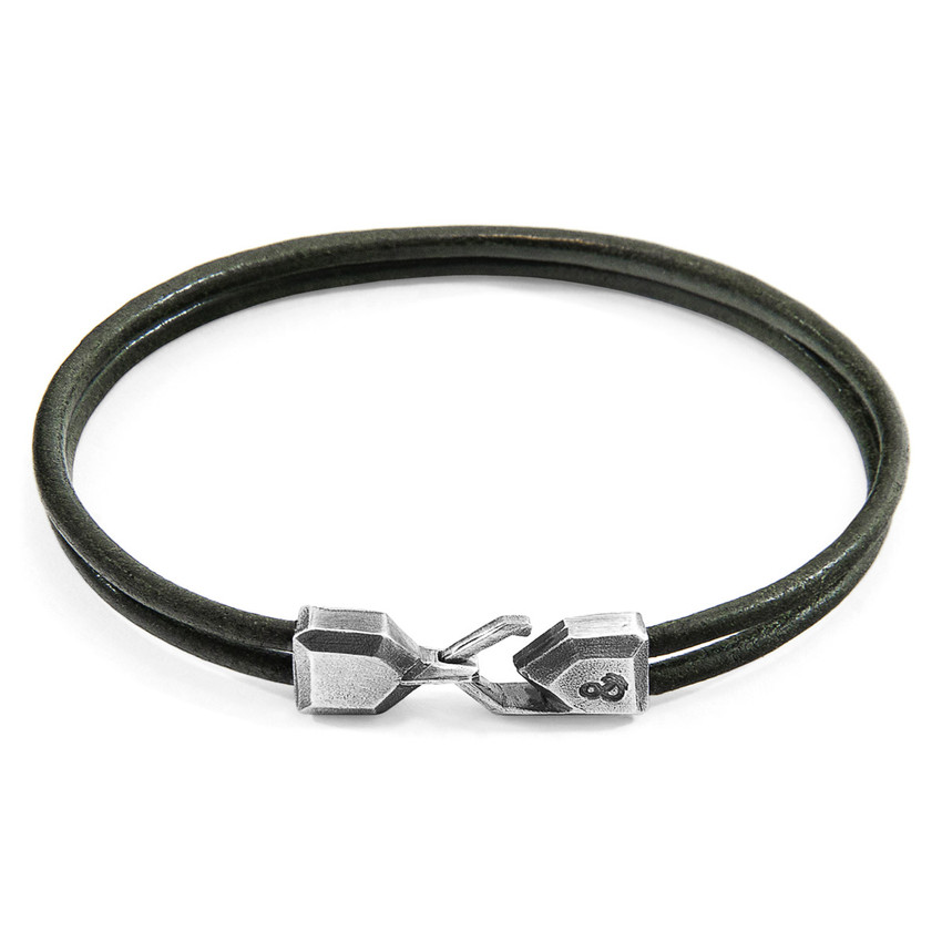 Anchor & Crew Racing Green Cromer Silver and Round Leather Bracelet
