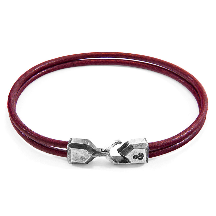 Anchor & Crew Bordeaux Red Cromer Silver and Round Leather Bracelet