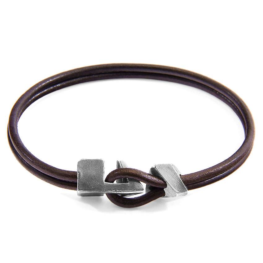 Anchor & Crew Mocha Brown Brixham Silver and Round Leather Bracelet