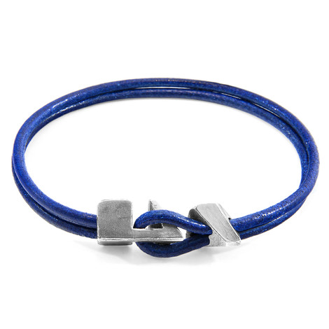 Anchor & Crew Azure Blue Brixham Silver and Round Leather Bracelet