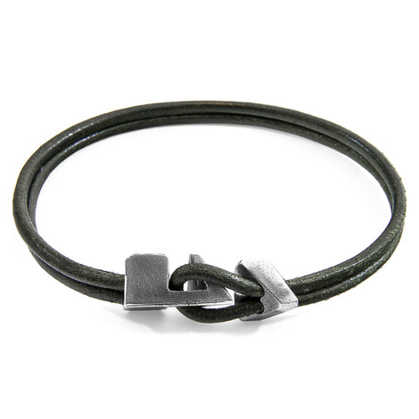 Anchor & Crew Racing Green Brixham Silver and Round Leather Bracelet