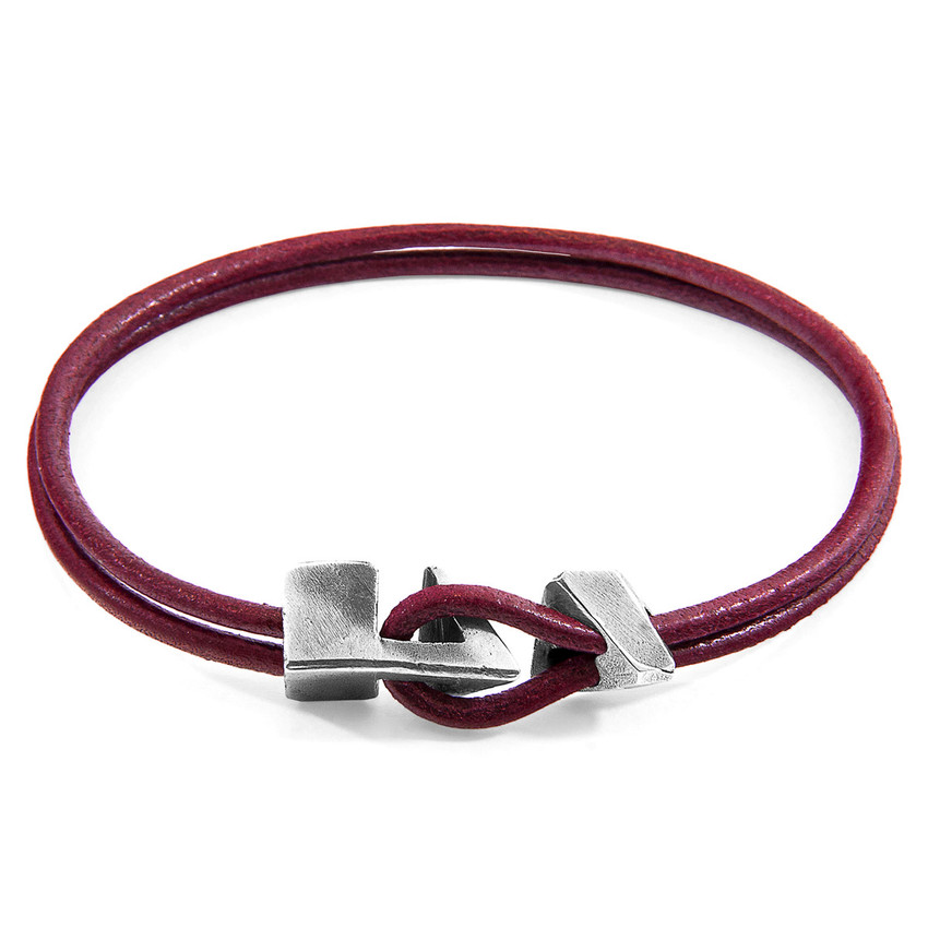 Anchor & Crew Bordeaux Red Brixham Silver and Round Leather Bracelet