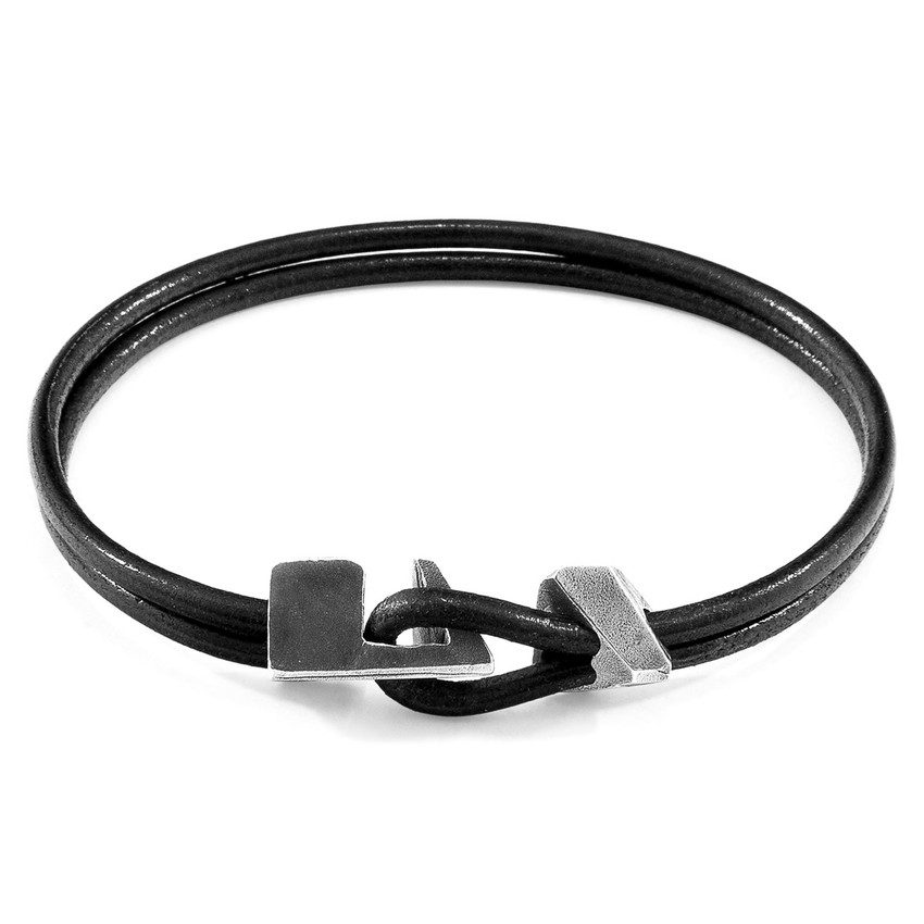 Anchor & Crew Raven Black Brixham Silver and Round Leather Bracelet