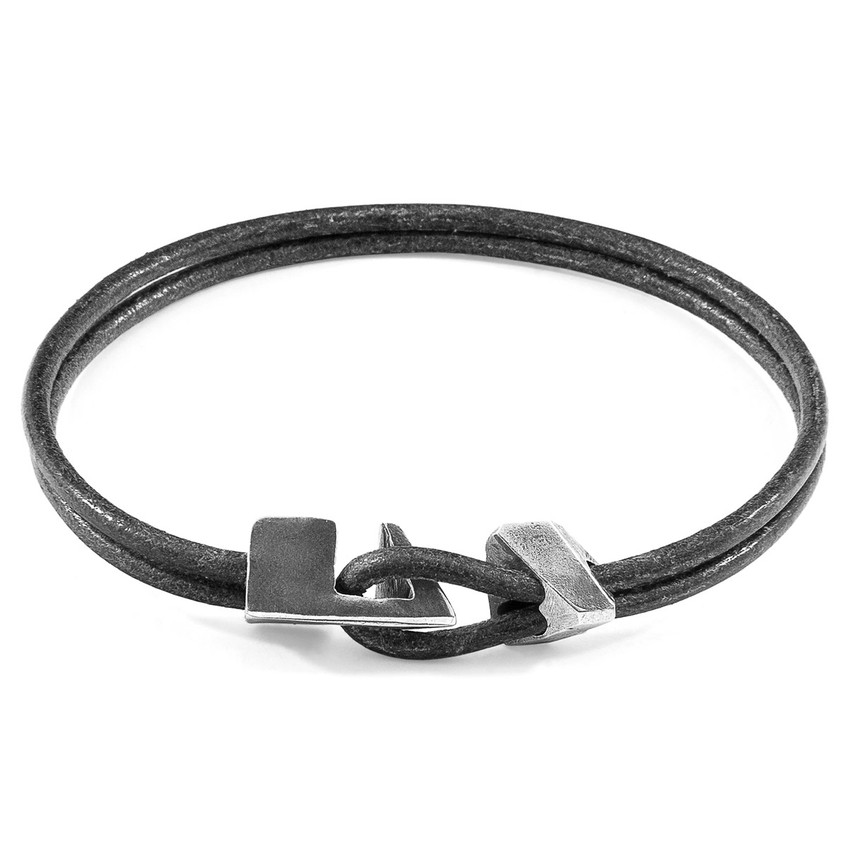 Anchor & Crew Shadow Grey Brixham Silver and Round Leather Bracelet