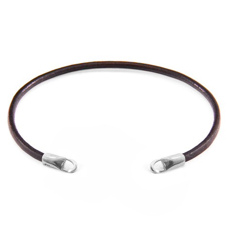 Anchor & Crew Mocha Brown CUSTOM Bracelet Round Leather and Silver Line