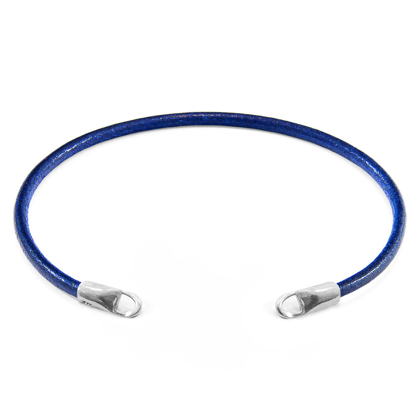 Anchor & Crew Azure Blue CUSTOM Bracelet Round Leather and Silver Line