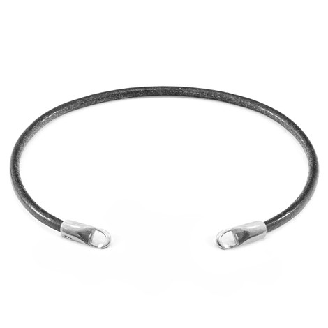 Anchor & Crew Shadow Grey CUSTOM Bracelet Round Leather and Silver Line