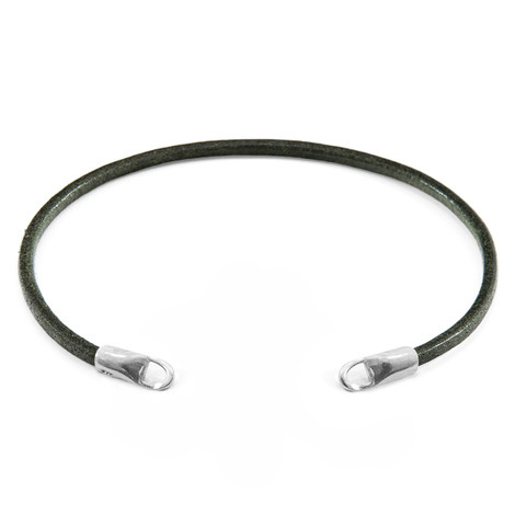 Anchor & Crew Racing Green CUSTOM Bracelet Round Leather and Silver Line