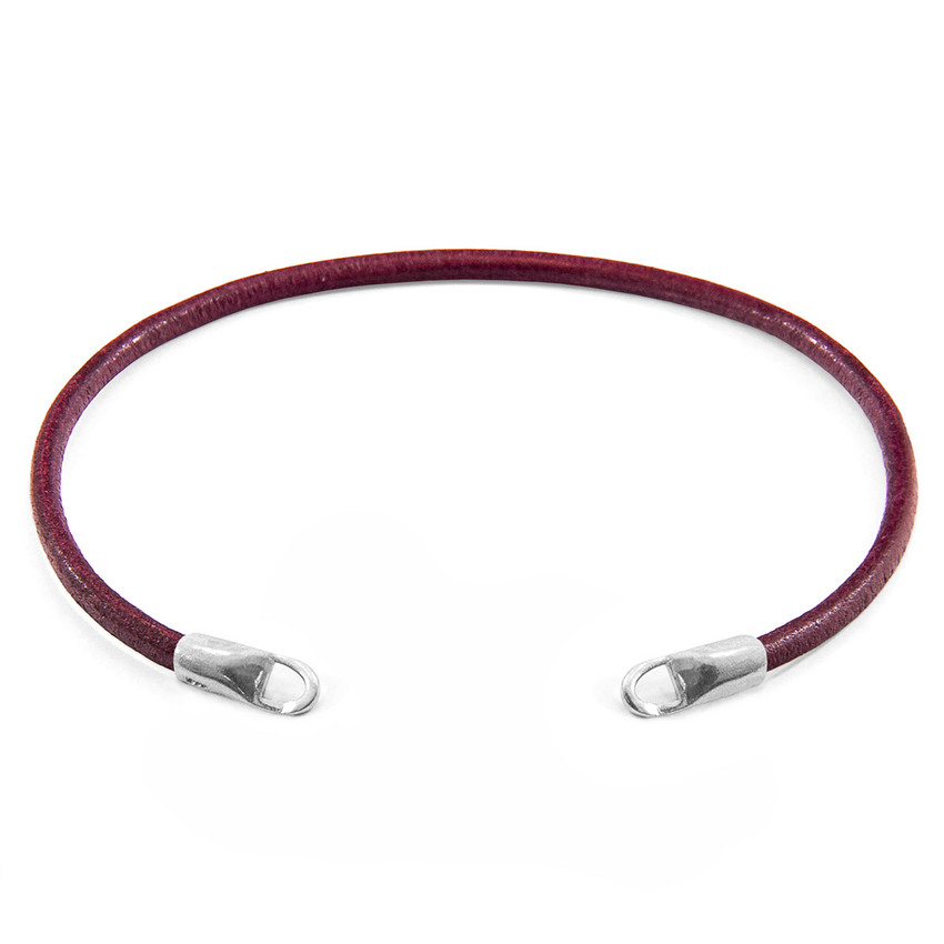 Anchor & Crew Bordeaux Red CUSTOM Bracelet Round Leather and Silver Line