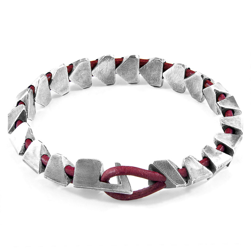 Anchor & Crew Red Bordeaux Brixham Maxi Silver and Round Leather Bracelet