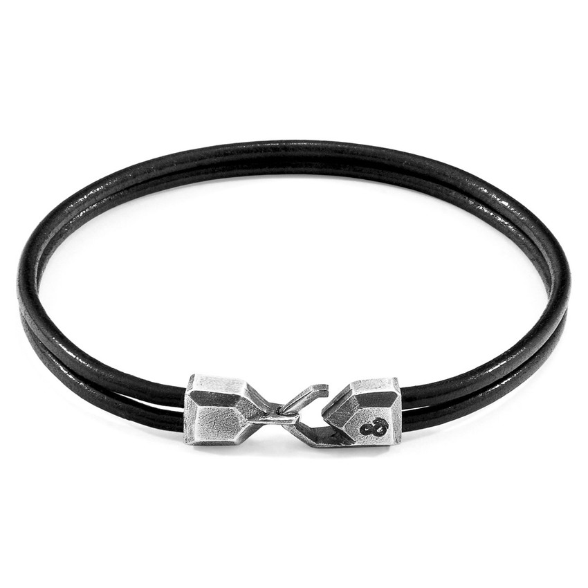 Anchor & Crew Raven Black Cromer Silver and Round Leather Bracelet