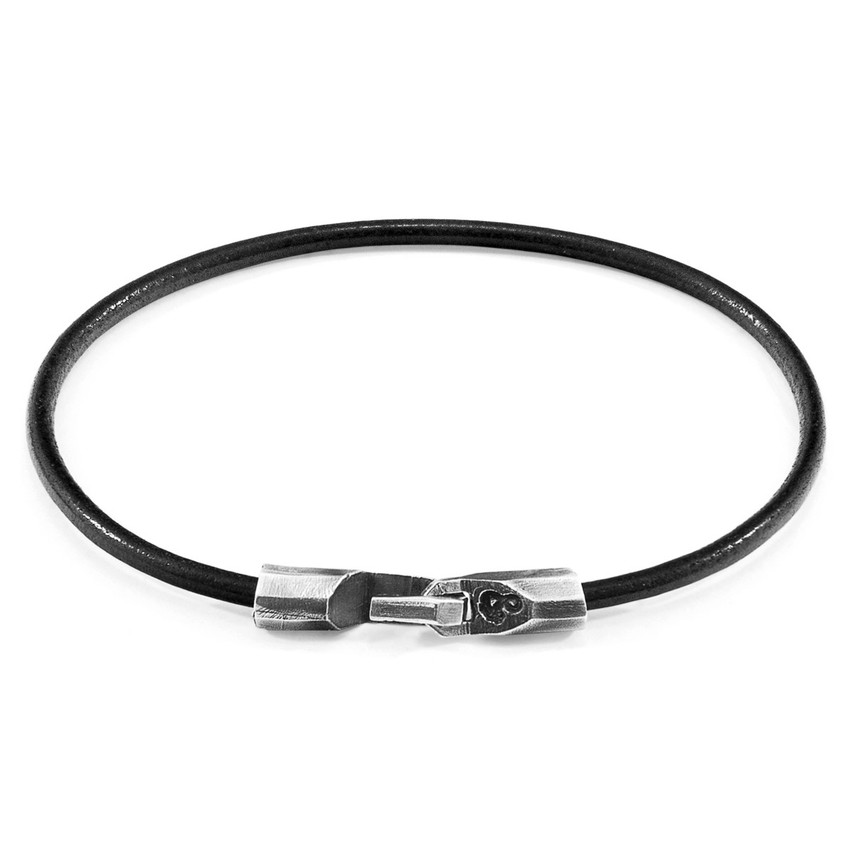 Anchor & Crew Raven Black Talbot Silver and Round Leather Bracelet