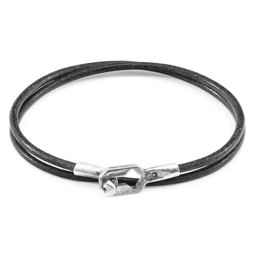 Anchor & Crew Shadow Grey Tenby Silver and Round Leather Bracelet