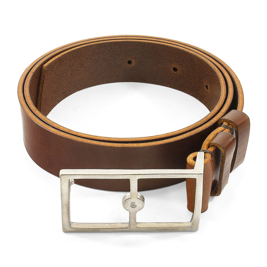 Anchor & Crew Papaya Brown Original Belvoir Leather and Nickel Belt