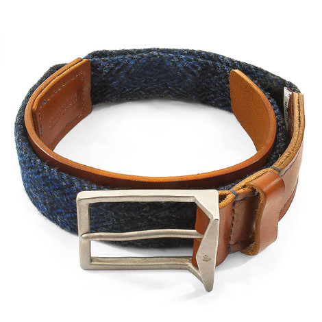 Anchor & Crew Highland Blue Harris Tweed Calway Leather and Nickel Belt