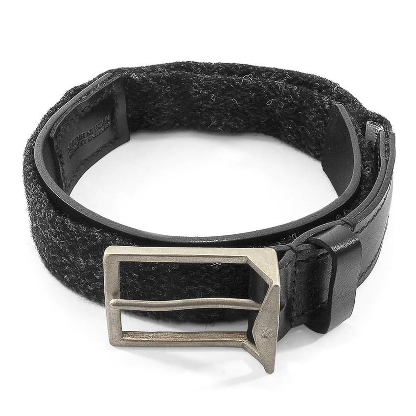Anchor & Crew Charcoal Black Harris Tweed Calway Leather and Nickel Belt