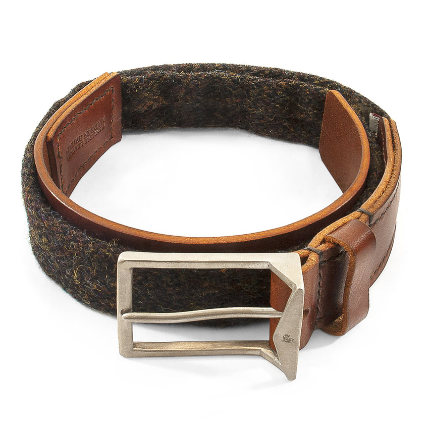 Anchor & Crew Country Brown Harris Tweed Calway Leather and Nickel Belt