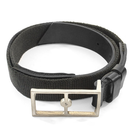 Anchor & Crew Grey Elastic Signature Glenam Leather and Nickel Belt