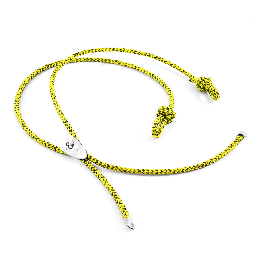 Anchor & Crew Yellow Noir Pembroke Silver and Rope Eyewear Strap