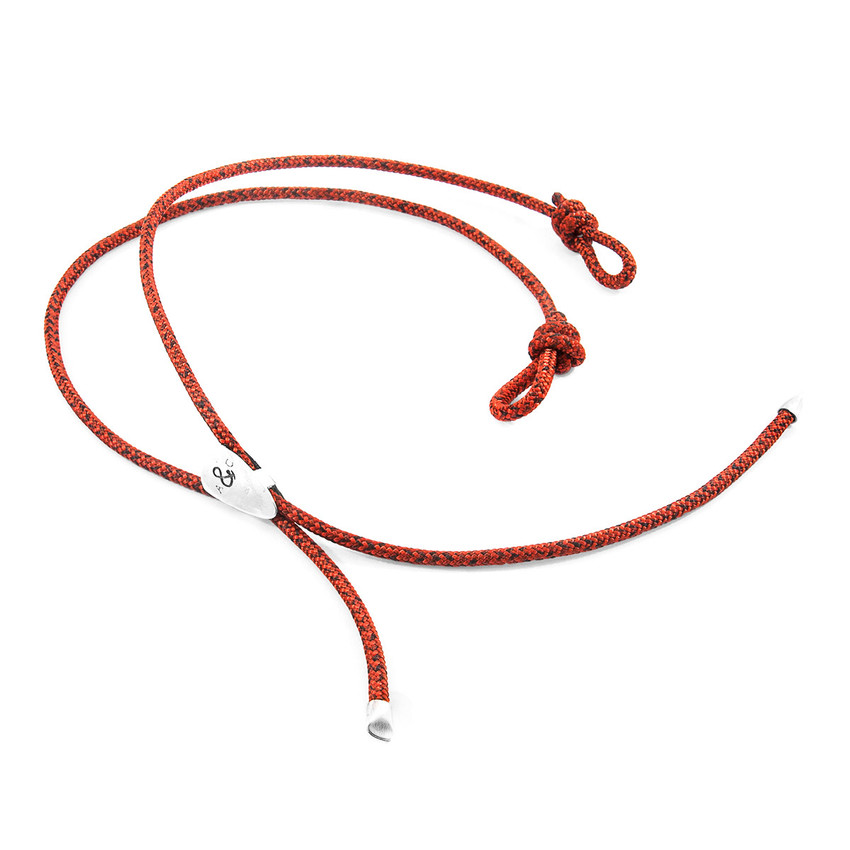 Anchor & Crew Red Noir Pembroke Silver and Rope Eyewear Strap
