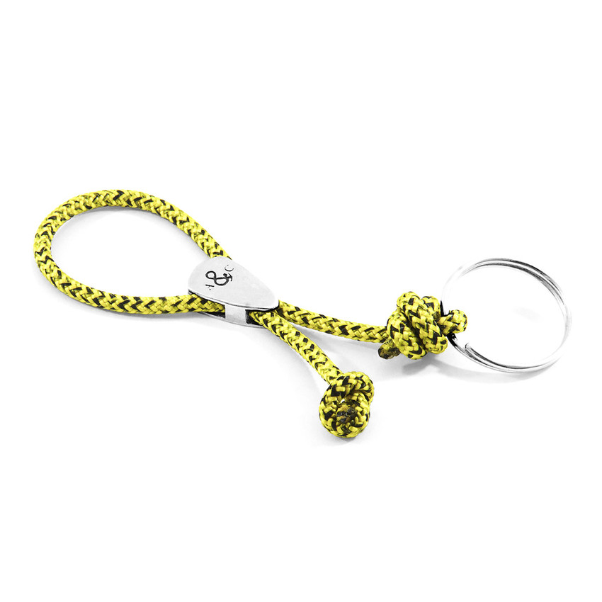 Anchor & Crew Yellow Noir Pembroke Everyday Carry Silver Keyring