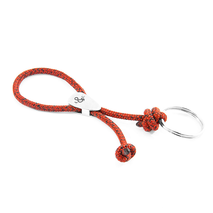 Anchor & Crew Red Noir Pembroke Everyday Carry Silver Keyring