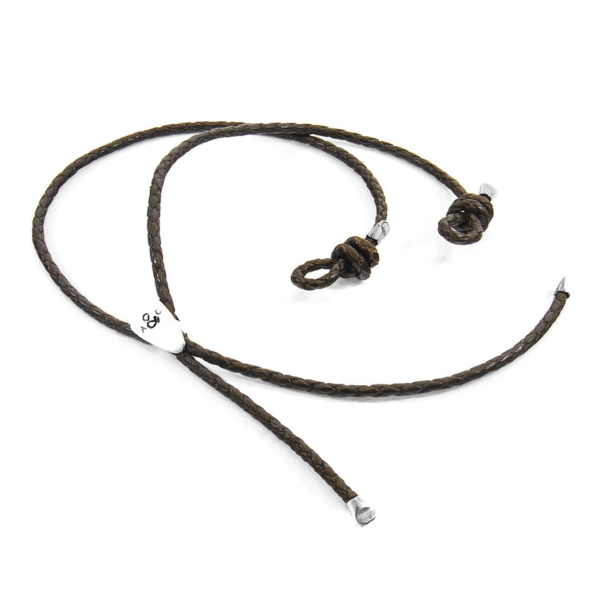 Anchor & Crew Dark Brown Pembroke Silver and Braided Leather Eyewear Strap