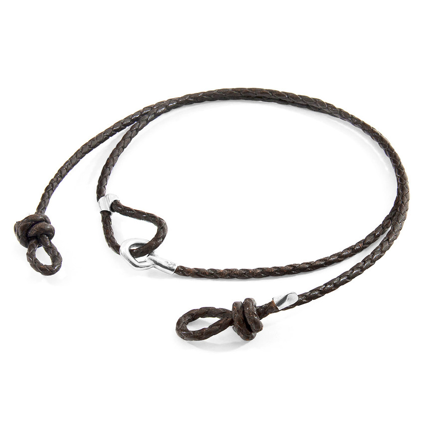 Anchor & Crew Dark Brown Blake Silver and Braided Leather Eyewear Strap