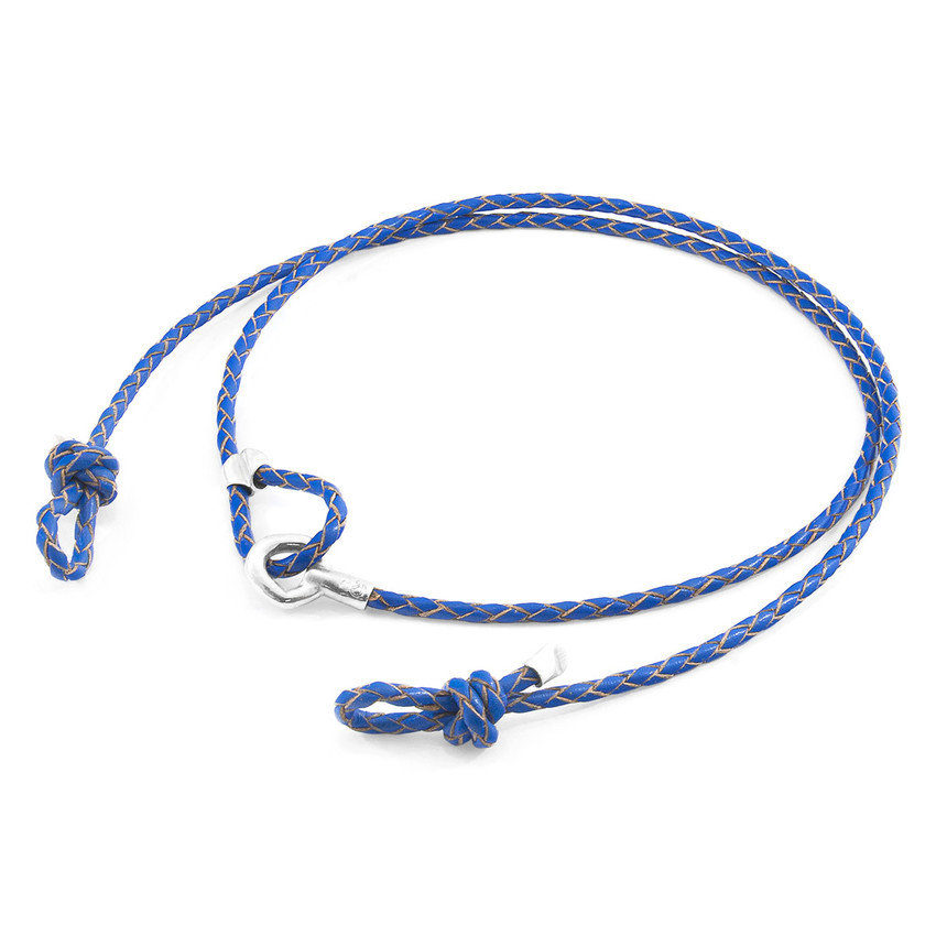 Anchor & Crew Royal Blue Blake Silver and Braided Leather Eyewear Strap