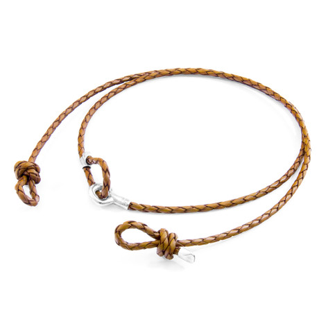 Anchor & Crew Light Brown Blake Silver and Braided Leather Eyewear Strap
