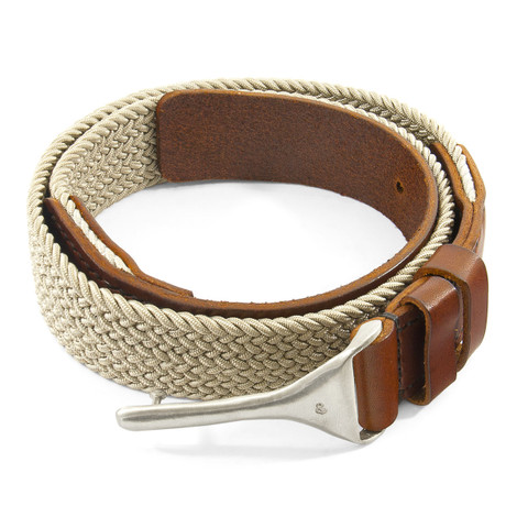 Anchor & Crew Beige Braid Harleck Leather and Nickel Belt